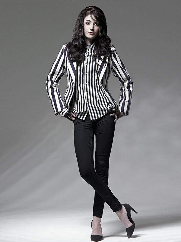 black and white fashion image of female model